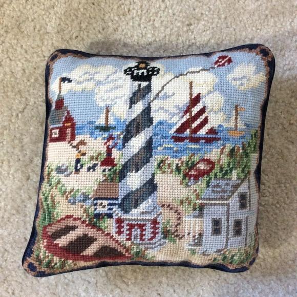 Vintage Other - Vintage Needlepoint Light House Pillow Blue Velvet